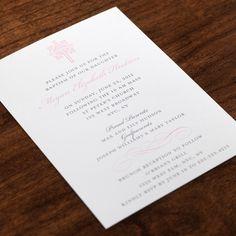 Ornate Cross Scroll Accent Pink Baptism Invitation