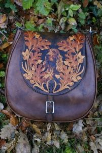 beautiful bag with knotwork, oak leaves and hand painted portrait of