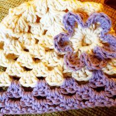 Crochet granny stitch lavender and cream baby girl hat