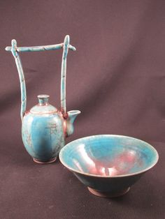 Raku Teapot and Bowl
