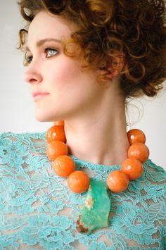 Orange Quartz statement necklace