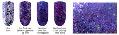 Ouanga D'Amour is a violet multiglitter that is made with assorted shades and finishes of violet glitter accented with red, green and iridescent blue in a clear violet blue-shimmered base. A spectre of a love potion from days gone by. [Ouanga means spell or potio. Voodoo overtones...]