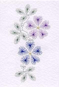 Embroidery on paper flowering vine