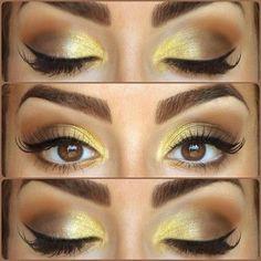 eye makeup, eyeshadow, eyebrow, makeup ideas, color combinations, beauti, yellow, eyemakeup, eyelash