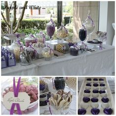 EAT DRINK PRETTY: A pretty purple and white dessert table dessert tables, idea, candy buffet, lolli buffet, purple, lolly buffet, candi tabl, candies, candi buffet