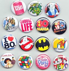 Pins - on your jean jacket of course! I had a bandana w/ pins all over hanging from my rea rview mirror