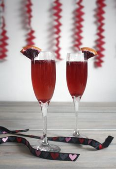 Valentine's Champagne Cocktail (blood orange and pomegranate). Perfect for any celebration of #Love.