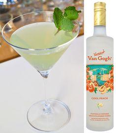 Minty Peach Martini with Van Gogh Cool Peach Vodka, lemon juice, agave nectar and fresh mint.