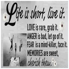 Life is short, live it. Love is rare, grab it. Anger is bad, let go of it. Fear is a mind killer, face it. Memories are sweet, cherish them.