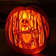 """Nightmare Before Christmas"" Jack Skellington jack-o-lantern: carve a pumpkin with wood carving tools!"