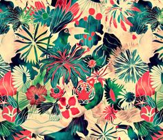 Jungle fabric by demigoutte on Spoonflower - custom fabric draw, jungles, fabric patterns, color schemes, behance, colors, art prints, print patterns, design