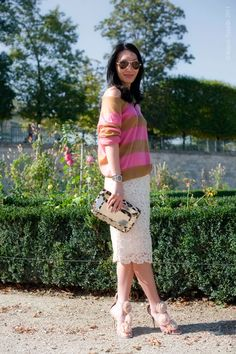 This whole look is perfection. I especially love the clutch and lace skirt!