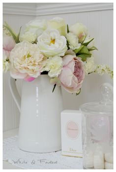 Beautiful silk peonies and roses arrangement