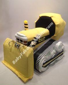 Bulldozer, caterpillar - Diaper Cake #Bulldozer #BabyShowerGifts #CAT #caterpillar #
