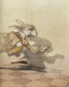 robert ingpen, alice in wonderland pictures, ingpen alic, white rabbit, illustr