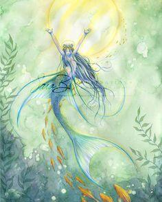 Angel Mermaid Art Print - Shell Crowned Angel Fish - Orange Fish and Bubbles. $16.00, via Etsy.