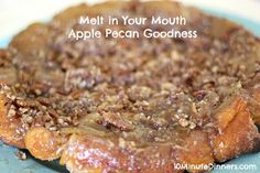 This melt in your mouth apple pecan coffee cake has all the goodness of homemade sticky buns with none of the work.