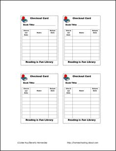 Classroom Library Checkout Cards