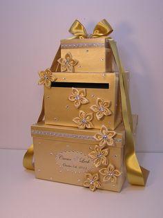 Gold Wedding Card Box Gift Card Box Money Box by bwithustudio