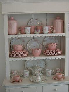 vintage pink dishes