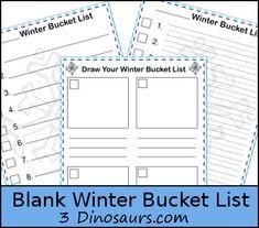 Free Blank Winter Bucket Lists - 3 different types - 3Dinosaurs.com