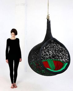 hanging chair made of volcanic rock