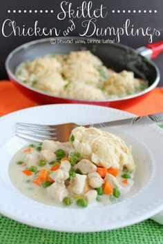 Skillet Chicken & Dumplings - A creamy chicken & vegetable gravy topped with tender biscuits that cook right there in the skillet with the rest of the meal. | DessertNowDinnerLater.com #dinner #chicken #skillet