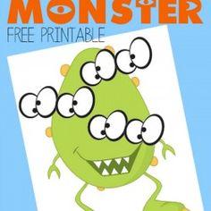 Pin the Eyes on the Monster Free Printable monster parti, monster free, eye