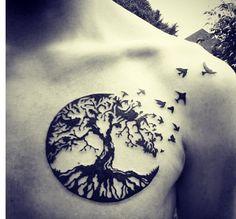 bird tattoos, tree of life bird tattoo, tattoo idea, tree tattoos, raven