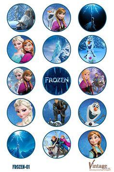 Disney congelado cumpleaños fiesta botella Cap imágenes archivo digital chica chico DIY 1 pulgada (agua)