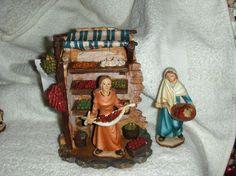 pesebr de, de navidad, vendiendo fruta, aldeana vendiendo