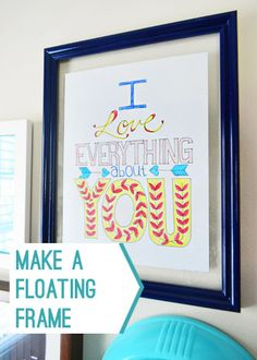 Make an old frame that you already have into a floating glass frame (on the cheap)