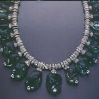 Merle Oberon's personal necklace, made in  1938 by Cartier.  Emeralds and diamonds.