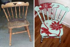 Dont toss your old chairs. This is tooo cute! A lil paint goes a long ways.