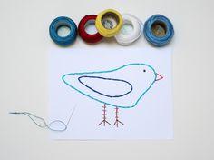 diy embroideri, kids diy, kid activ, greeting cards, nests