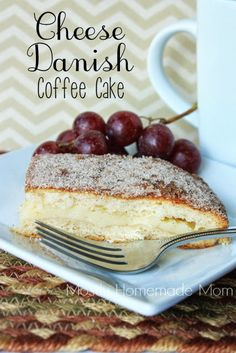 Cheese Danish Coffee Cake - Crescent rolls with cheesecake filling and topped with cinnamon sugar. A cheese danish in coffee cake form!