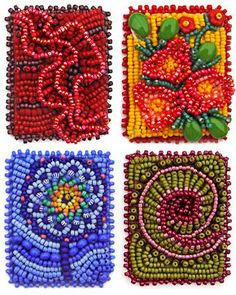 bead embroidery patterns free | Technique samples, bead embroidery, by Robin Atkins, bead artist: Beading Techniques    Ruffles, Raised Flowers, Pinwheel Flowers and Spiral Shell