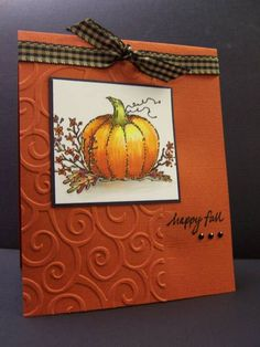 fall card used embossing folder