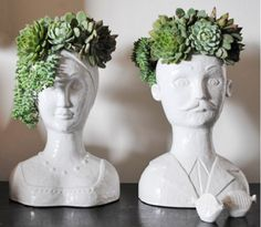 These are some cool planters that look great with hens & chicks