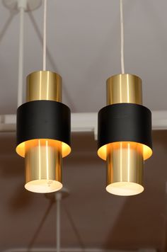 Pair of Danish Modern Cylindrical Brass Pendant Lamps image 2