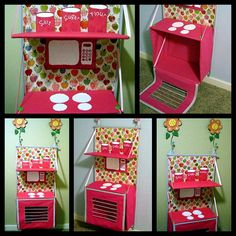what a marvelous idea. A play kitchen that folds up. Wouldn't it be great if it was a box that held all the dishes and then you open it to play. (I think this one folds flat - the link is to purchase the pattern for $10)