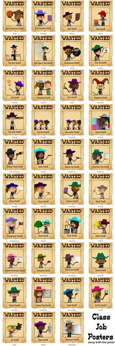 Here's a set of 39 class jobs posters with a western theme! These posters are editable PDFs so you can create your own job titles. Perfect for a cowboy and cowgirl western classroom theme!