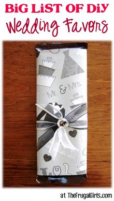BIG List of DIY Wedding Favors! ~ from TheFrugalGirls.com - you'll love these fun favor ideas for your wedding! {all style tips for cheap, rustic, classy, and cute! #thefrugalgirls