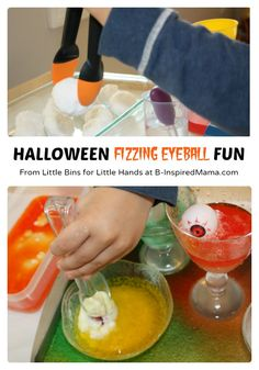 Halloween Science Fun with Fizzing Eyeballs [Contributed by Little Bins for Little Hands] - #kids #Halloween #kidscience pumpkin activ, fizz pumpkin, fun preschool science, scienc fun, preschool craft, fizz eyebal, halloween scienc, kid, science fun
