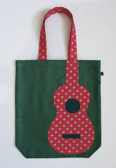 Green uke tote bag with pink appliqué polka-dot uke by Ivy Arch