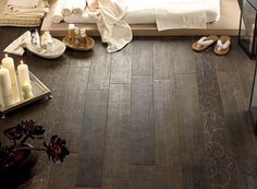 Ceramic tile that looks like wood. Perfect for a kitchen, bathroom or basement!