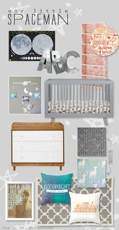 Spaceman Nursery :: A playfully sophisticated take on a modern baby room. Lots of vintage-inspired pieces and modern touches bring this baby boy nursery to life! via :: Oh, Hopscotch!