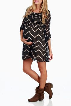 Black-Beige-Chevron-Print-Maternity-Dress