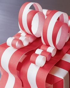 Ruffle-Top Bow  This curly, candy-cane-inspired paper bow adds a whimsical touch to any present.    How to Make the Ruffle-Top Bow