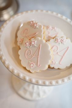 Very pretty monogram cookies by The Iced Biscuit.